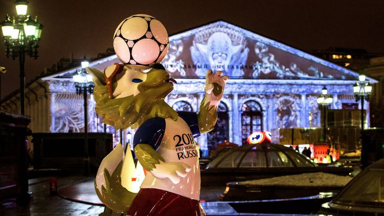 A photograph taken on December 11, 2017 shows the FIFA World Cup 2018 mascot Zabivaka in front of the Manege Exhibition Hall outside the Kremlin in Moscow.