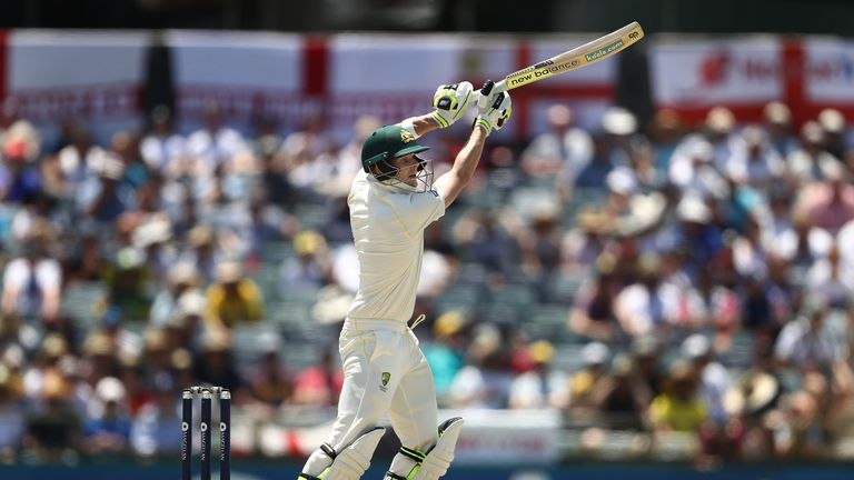 PERTH, AUSTRALIA - DECEMBER 16: Steve Smith of Australia bats during day three of the Third Test match during the 2017/18 Ashes Series between Australia an