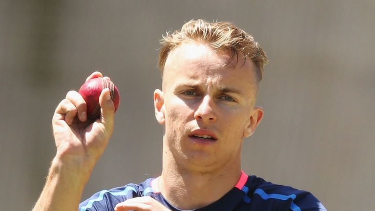 Tom Curren bowls during an England nets session at the Melbourne Cricket Ground on December 24, 2017