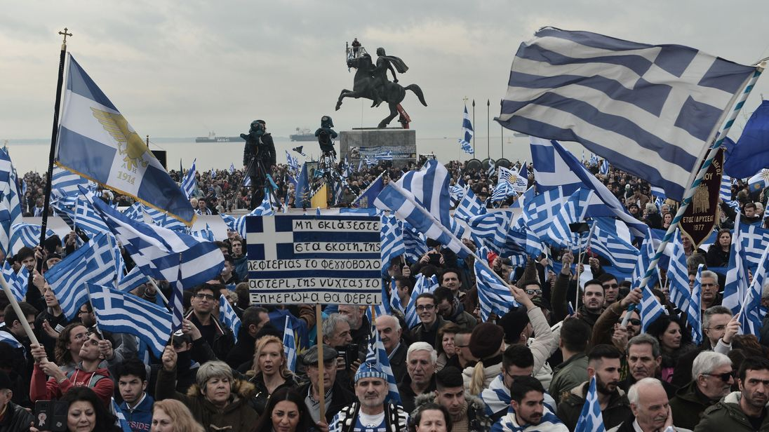 The protest was poignantly held in front of Thessaloniki's Alexander the Great statue