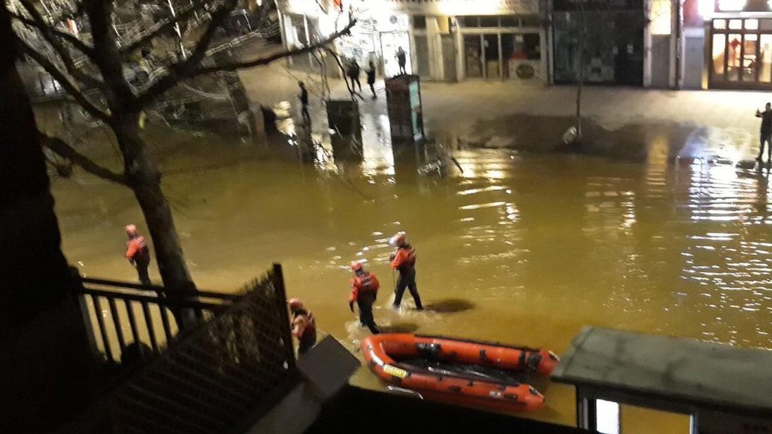 Even rescue boats had to be used to get people out of their homes