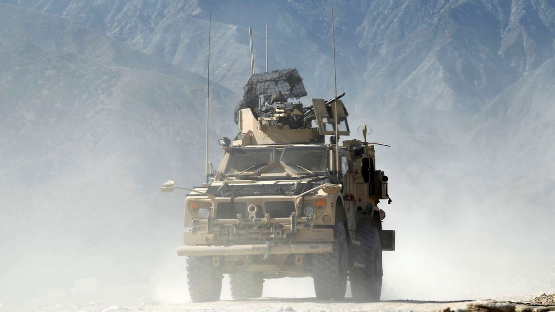 A US armoured vehicle in Achin, Nangarhar province in eastern Afghanistan