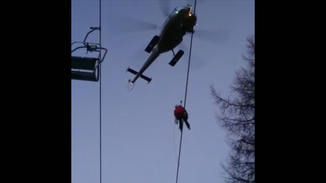 Skiers were rescued after a chairlift broke down in Austria