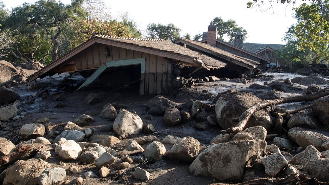 A home on Glen Oaks Road damaged by mudslides in Montecito, California