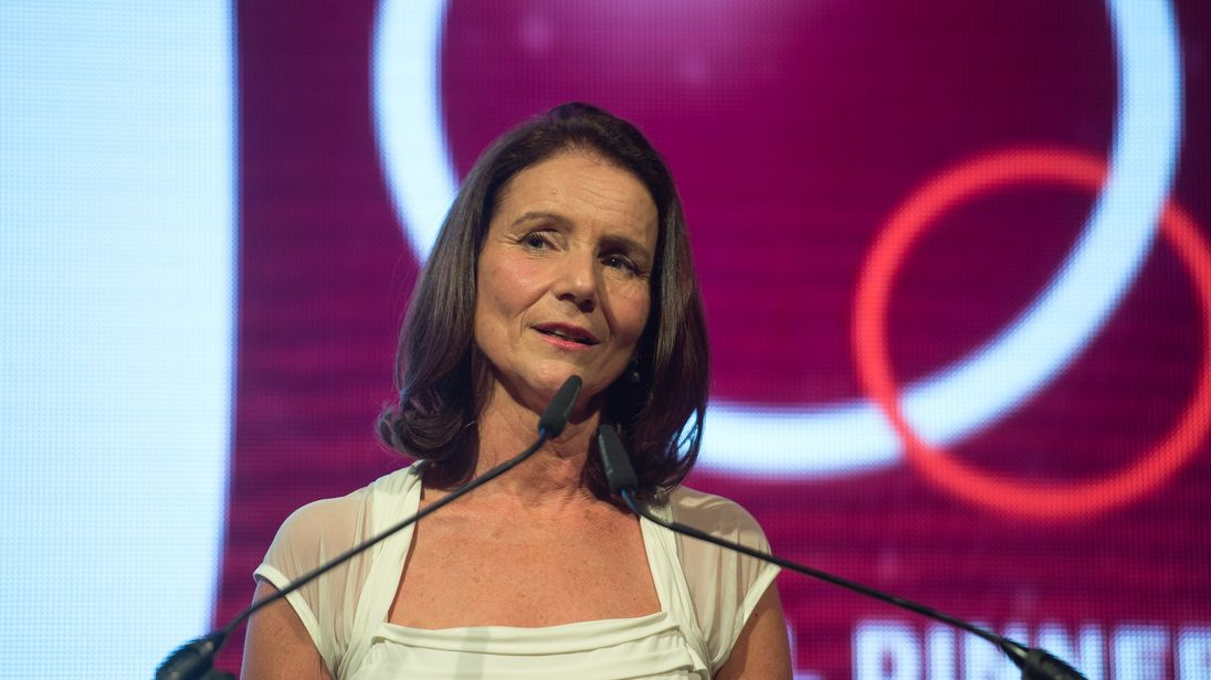 Director-General of the CBI, Carolyn Fairbairn, addresses their annual conference in London.