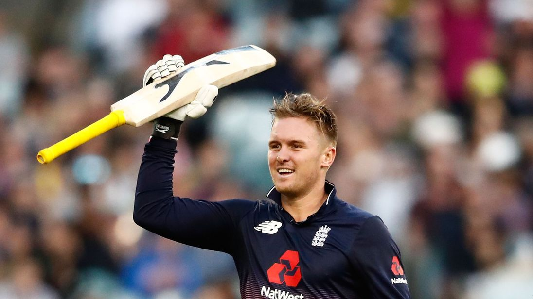 England batsman Jason Roy celebrates reaching his century during the One Day International