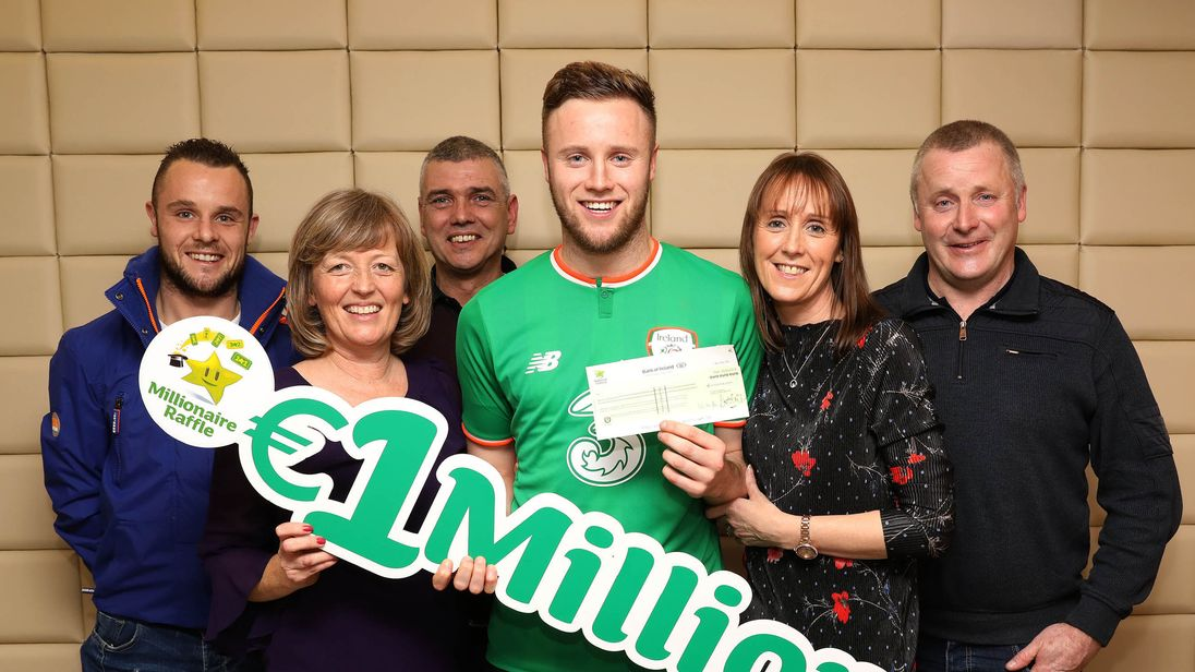 Irish professional footballer Kevin O'Connor (centre) with his family (from left) brother Brian O'Connor, godmother Margaret Murphy, godfather Peadar Murphy, mother Breda O'Connor and his father Brian O'Connor