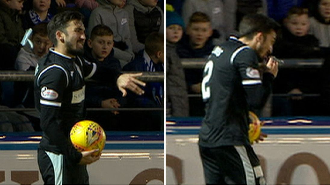 When St Mirren's Stelios Demetriou was hit on the back in their Scottish Championship derby with Morton, he ate it!