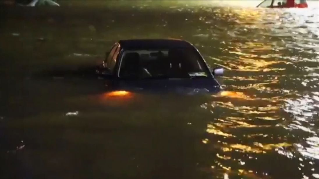 Flooding caused by Storm Eleanor engulfs a car in Galway. Pic: Enda Cunningham