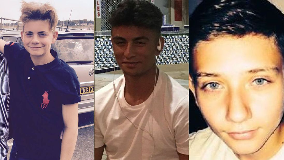 (L-R) George Wilkinson, Harry Rice, and Josh Mcgunniess were hit by a car as they waited at a bus stop in Hayes