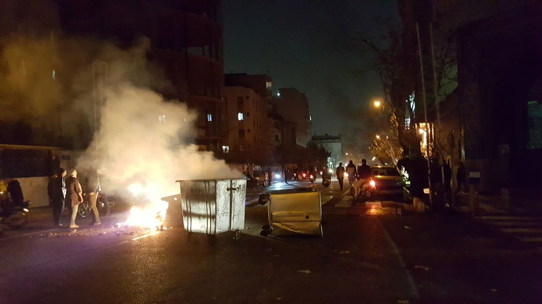 People protesting in Tehran on 30 December