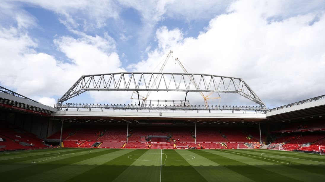 The new stand is seen under construction at the Anfield Stadium ahead of the English Premier League football match between Liverpool and West Ham at the Anfield stadium in Liverpool, north-west England on August 29, 2015. West Ham won the game 3-0. AFP PHOTO / LINDSEY PARNABY RESTRICTED TO EDITORIAL USE. No use with unauthorized audio, video, data, fixture lists, club/league logos or 'live' services. Online in-match use limited to 75 images, no video emulation. No use in betting, games or single
