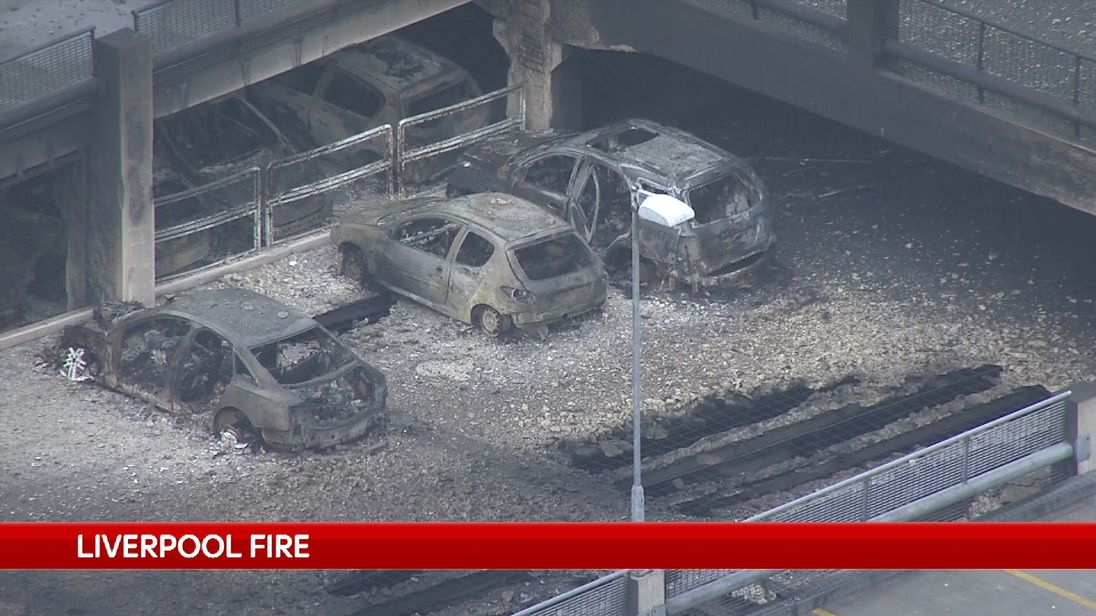 All the cars in the car park were destroyed in the fire
