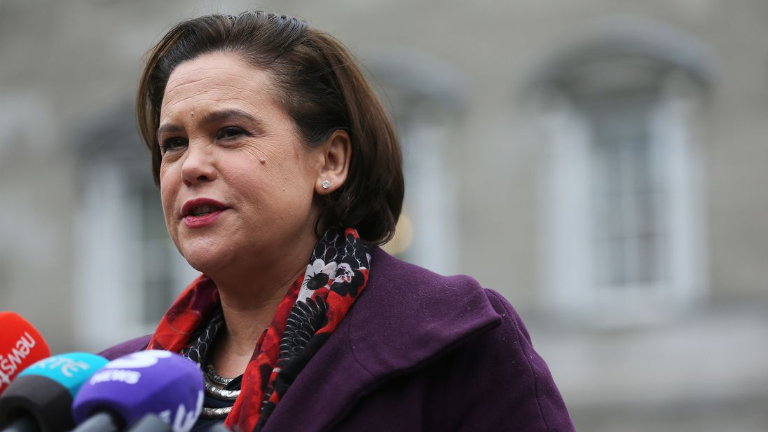 Sinn Fein Deputy Leader Mary Lou McDonald speaking to the media outside Leinster House in Dublin