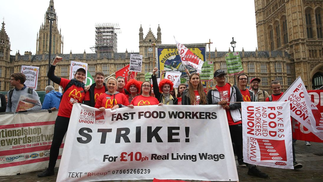Supporters and workers from McDonald's restaurants in Cambridge and Crayford, SE London, during a rally at Old Palace Yard, London, after they voted overwhelmingly in favour of industrial action, amid concerns over working conditions and the use of zero-hour contracts