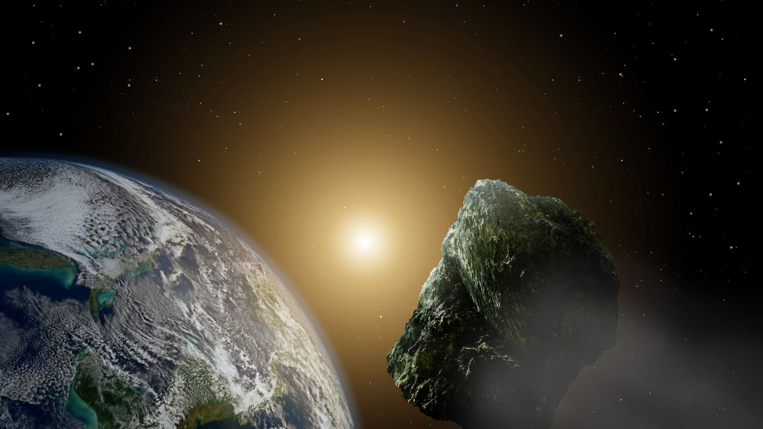 An artists impression of a meteor approaching earth