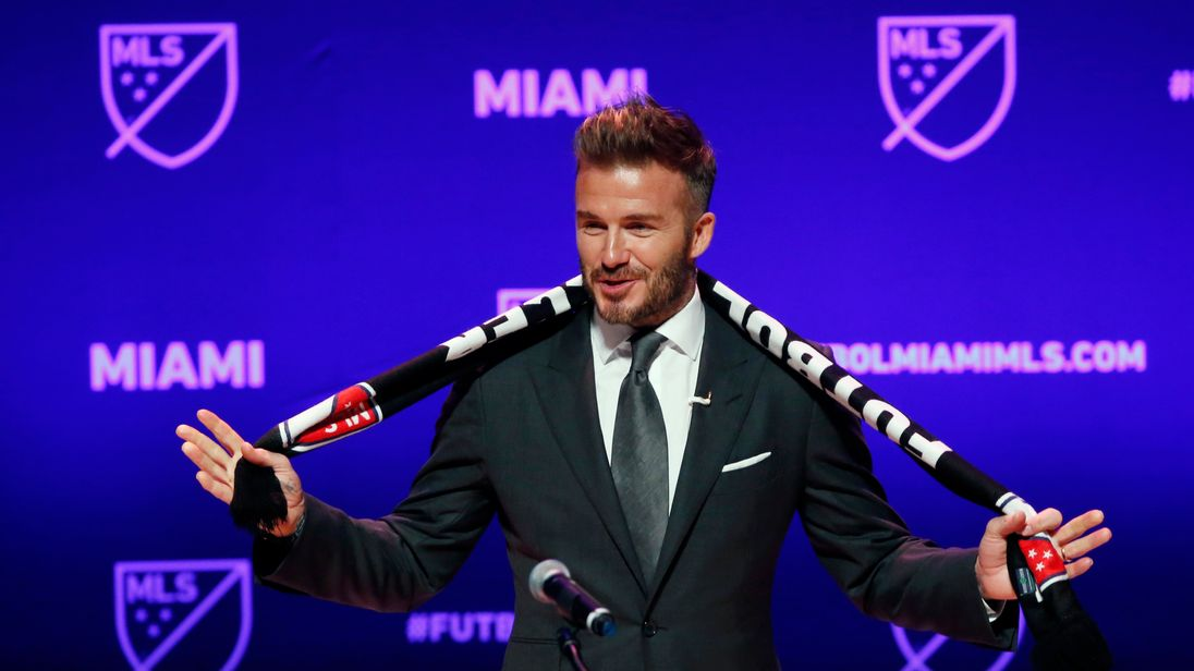 Former soccer player David Beckham addresses the media during an event to announce his Major League Soccer franchise in Miami, Florida on January 29, 2018