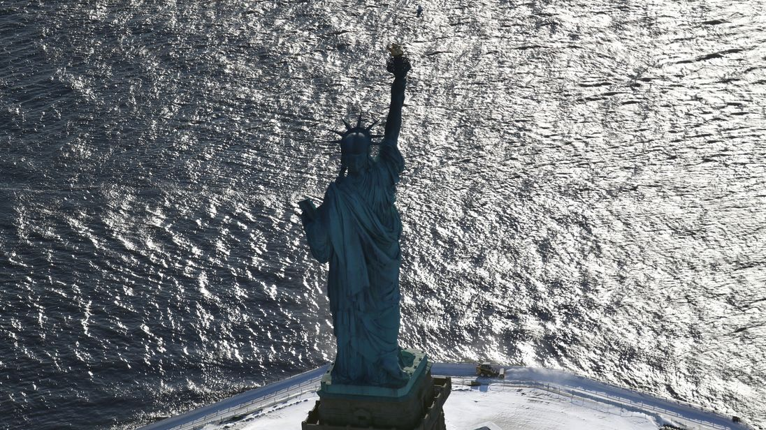 A snowy Liberty Island in New York