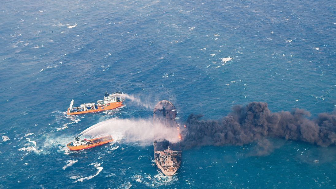 Rescue efforts for the stricken oil tanker in East China Sea
