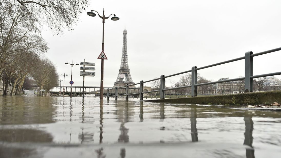 Flooding has reached the area around the Eiffel Tower