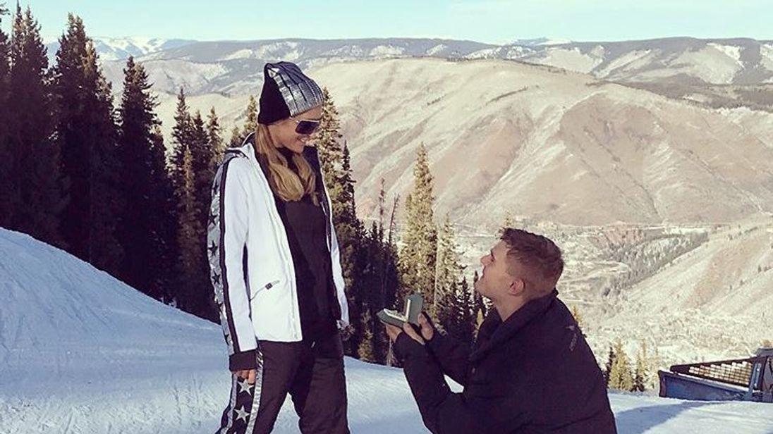 Zylka proposed to Hilton on a ski slope (Pic: Paris Hilton Instagram)