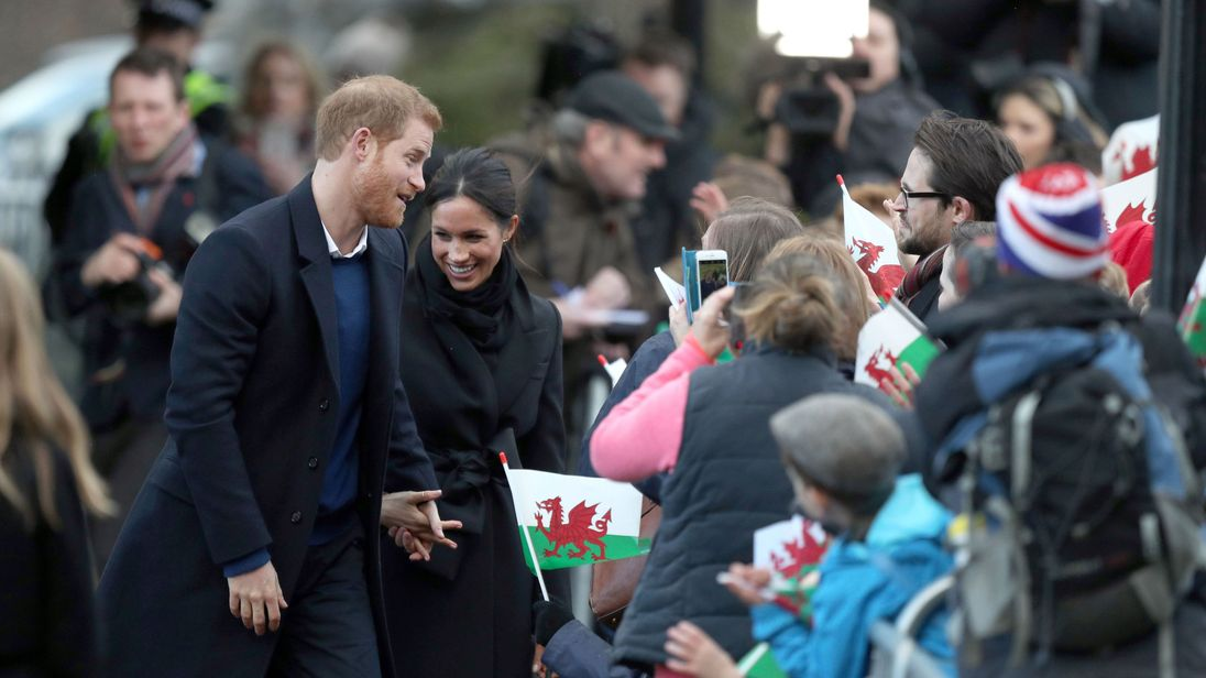 Prince Harry and Meghan Markle during a visit to Cardiff Castle