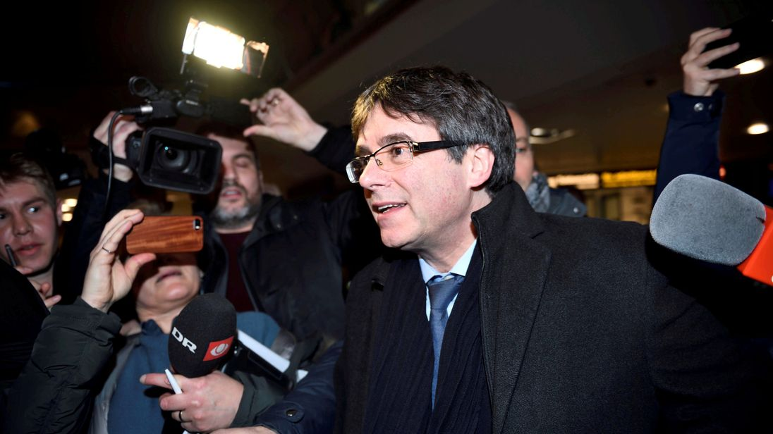 The trip was Mr Puigdemont's first time outside Belgium in three months