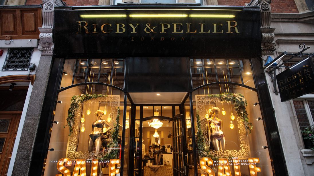LONDON ENGLAND- JANUARY 11 British lingerie retailer Rigby & Peller stands with its royal warrant removed on Hans Road in Knightsbridge