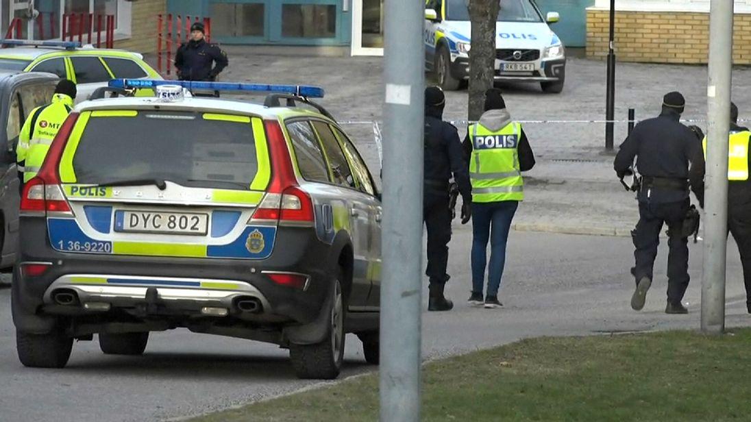 The explosion happened at Varby Gard station in southwest Stockholm. Pic: TV for Sweden