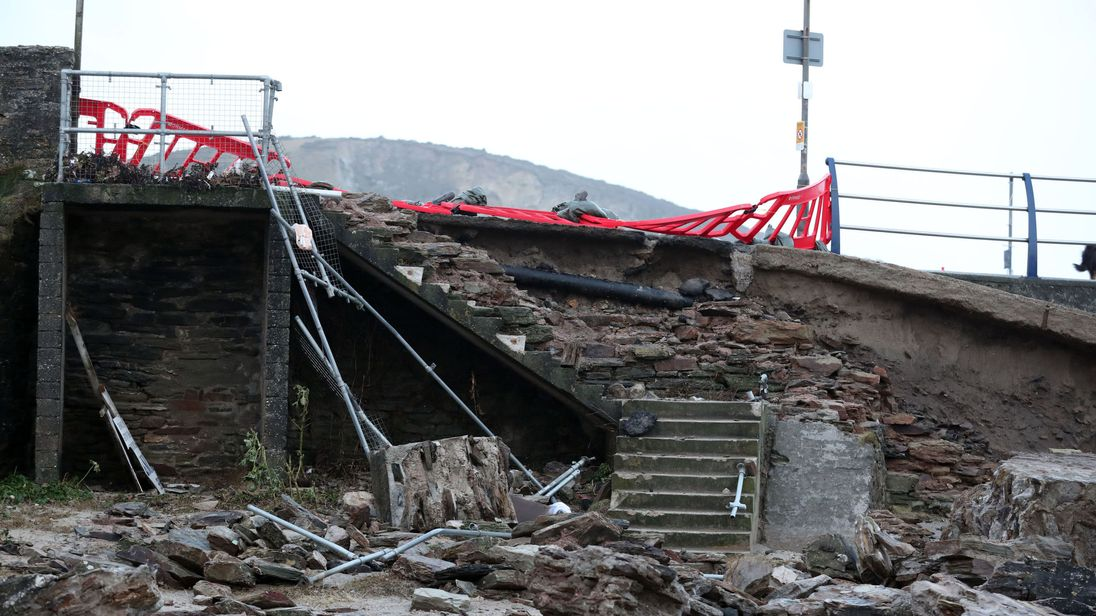 A partially collapsed harbour wall in Portreath, Cornwall, after Storm Eleanor lashed the UK