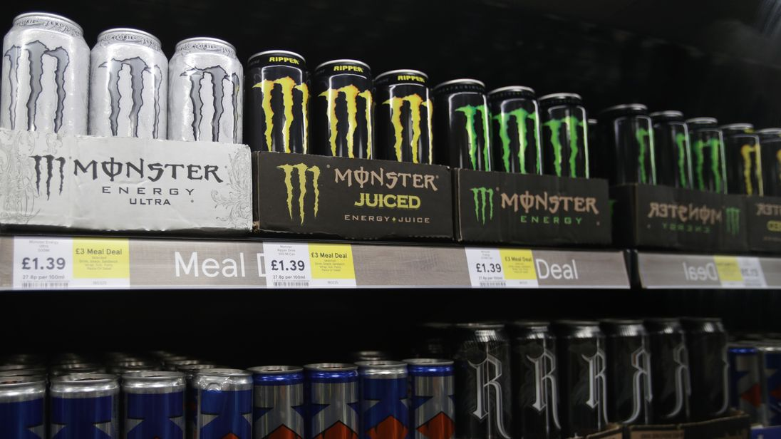 Shelves of energy drinks on sale in a Tesco store in London, as the supermarket chain has announced plans to stop selling energy drinks to under-16s.