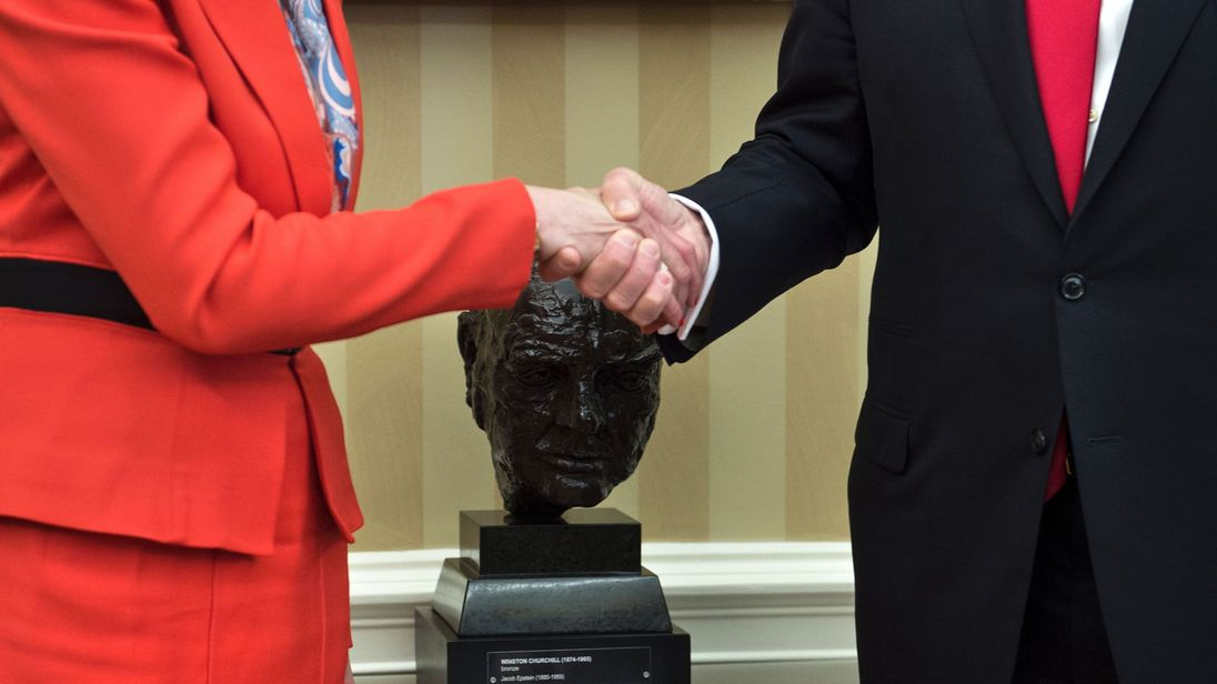 Theresa May and Donald Trump shake hands at the White House last January- after which both sides made positive noises about a trade deal