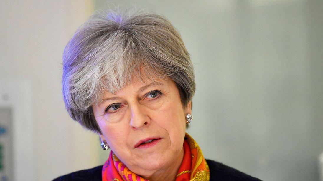 Theresa May thanks staff at Frimley Park Hospital, Surrey