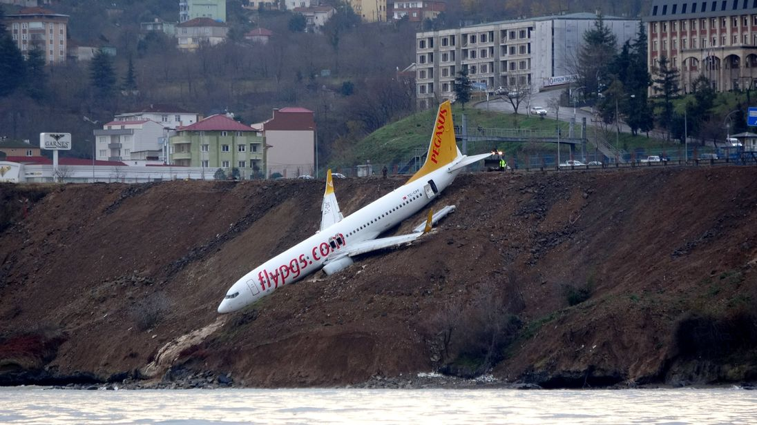 A Pegasus Airlines aircraft is pictured after it skidded off the runway at Trabzon airport by the Black Sea in Turkey