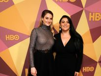 Shailene Woodley (L) and activist Calina Lawrence