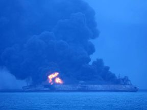 The tanker Sanchi is seen ablaze in waters of China