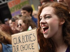 People outside the Irish embassy in London during the London March for Choice last September