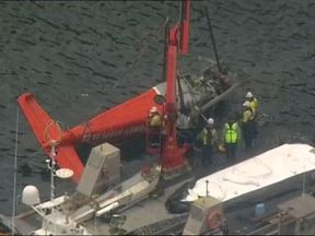 The seaplane is lifted from the water