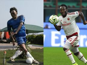 Michael Essien's statue in Ghana (left) and the star on the pitch (right)
