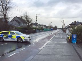 Irish police at the road in Dundalk, Ireland, where the man was stabbed