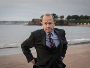 TORQUAY, ENGLAND - SEPTEMBER 30: Newly elected UKIP leader Henry Bolton walks on the beach following morning TV interviews at their autumn conference on September 30, 2017 in Torquay, England. Bolton is the UKIP party's fourth leader in just over a year. (Photo by Matt Cardy/Getty Images)