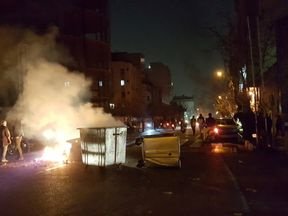 People protesting in Tehran on 30 December