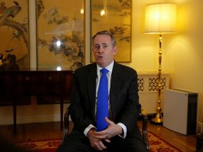 Britain's International Trade Secretary Liam Fox speaks during an interview at the residence of the British embassy in Beijing, China January 3, 2018. REUTERS/Thomas Peter