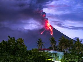 the Mayon volcano erupts. Pic: Jack Kurtz/ZUMA Wire/REX/Shutterstock