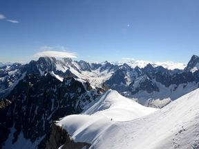 Mont-Blanc peak at the top of the Aiguille du Midi  mountain in the French Alps.