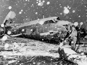 The wreckage of the British European Airways plane which crashed in Munich on February 6, 1958, while bringing home members of the Manchester United football team from a European Cup match