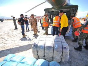 Arequipa governor Yamila Osorio shared a picture of the relief effort