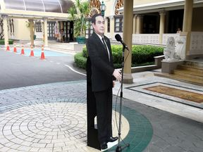 A cardboard cut-out of Thailand's Prime Minster Prayuth Chan-ocha