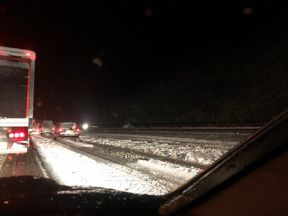 Snow stopped traffic on the M74 for hours. Pic: @scottdrury
