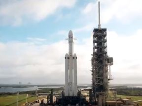 The Falcon Heavy at launch complex 39A. Pic: Elon Musk